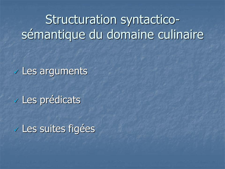 Structuration syntactico- sémantique du domaine culinaire Les arguments Les arguments Les prédicats Les prédicats Les suites figées Les suites figées