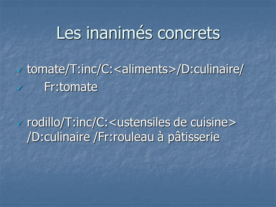 Les inanimés concrets tomate/T:inc/C: /D:culinaire/ tomate/T:inc/C: /D:culinaire/ Fr:tomate Fr:tomate rodillo/T:inc/C: /D:culinaire /Fr:rouleau à pâti