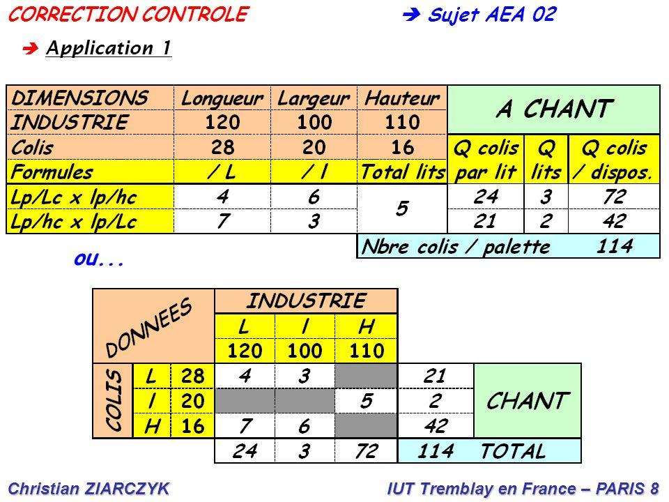 Christian ZIARCZYK IUT Tremblay en France – PARIS 8  Sujet AEA 02CORRECTION CONTROLE  A pplication 1