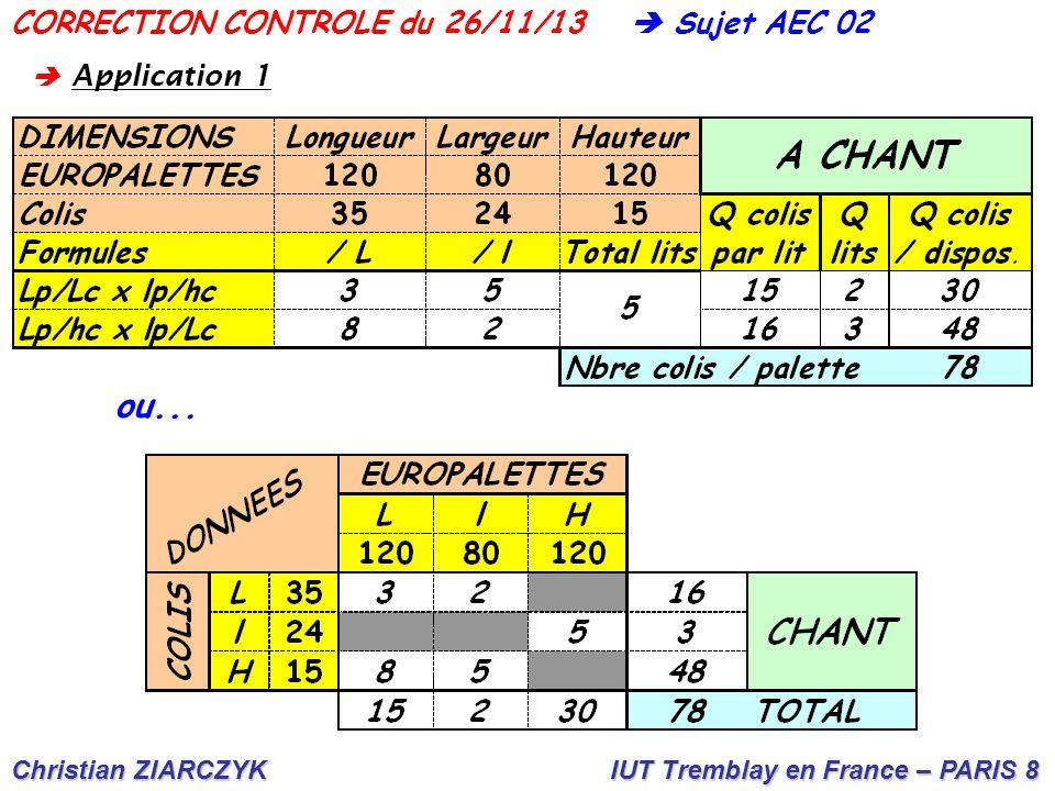 Christian ZIARCZYK IUT Tremblay en France – PARIS 8  Sujet AEC 02CORRECTION CONTROLE du 26/11/13  A pplication 1
