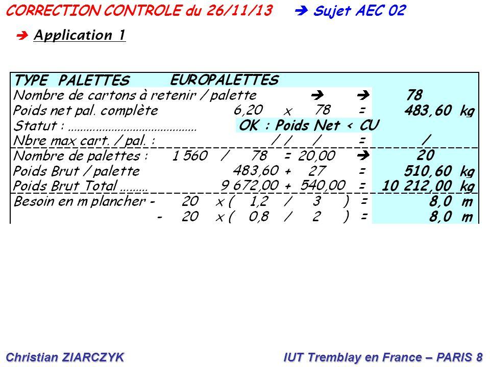Christian ZIARCZYK IUT Tremblay en France – PARIS 8  Sujet AEC 02CORRECTION CONTROLE du 26/11/13 A B C D E F G H  Lecture côté palette 80 cm A  4 largeurs (18 x 4) =.........................72 cm B  2 largeurs + 1 longueur : (18 x 2) + 28 =...64 cm C  1 largeur + 2 longueurs : 18 + (28 x 2) =...74 cm D  6 largeurs (18 x 6) =................108 cm  Lecture côté palette 120 cm E  5 largeurs + 1 longueur : (18 x 5) + 28 =...................118 cm F  3 largeurs + 2 longueurs : (18 x 3) + (28 x 2) =......110 cm G  2 largeurs + 3 longueurs : (18 x 2) + (28 x 3) =....120 cm H  4 longueurs : (28 x 4) =..........112 cm  A pplication 2
