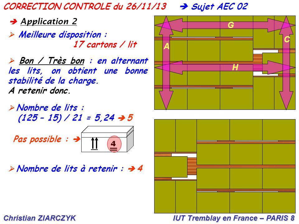 Christian ZIARCZYK IUT Tremblay en France – PARIS 8 CORRECTION CONTROLE du 26/11/13  A pplication 2  Meilleure disposition : 17 cartons / lit  Bon