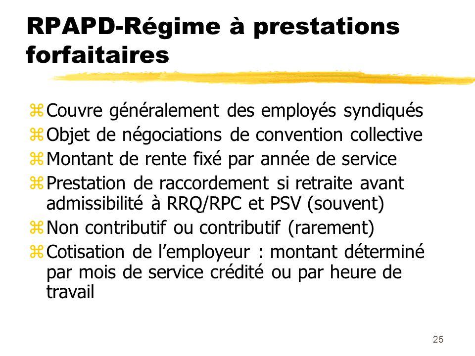 25 RPAPD-Régime à prestations forfaitaires zCouvre généralement des employés syndiqués zObjet de négociations de convention collective zMontant de ren