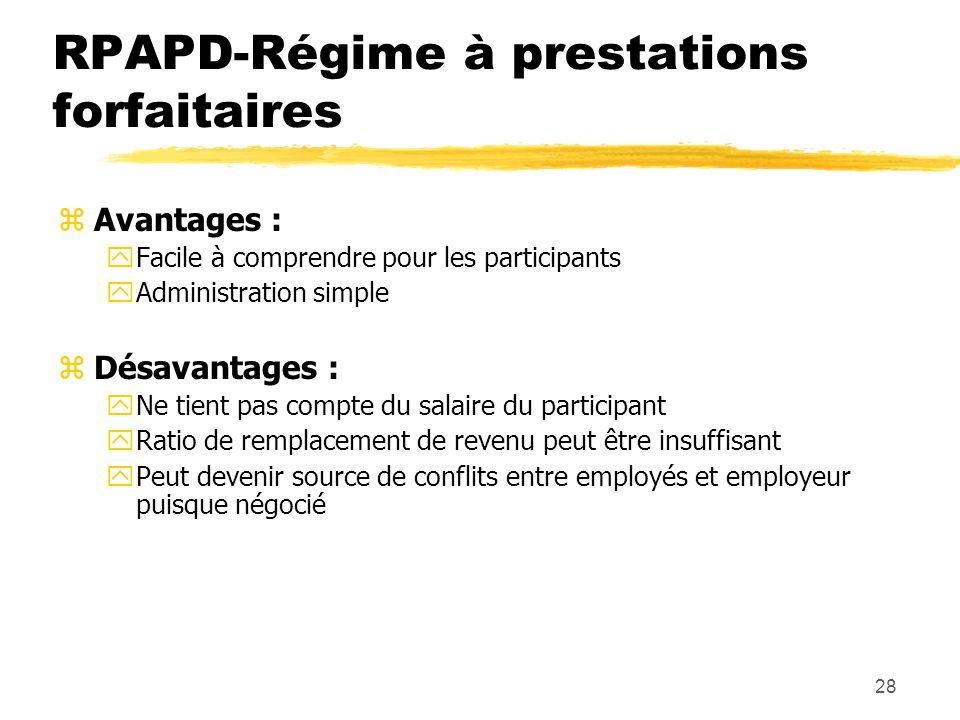 28 RPAPD-Régime à prestations forfaitaires zAvantages : yFacile à comprendre pour les participants yAdministration simple zDésavantages : yNe tient pa
