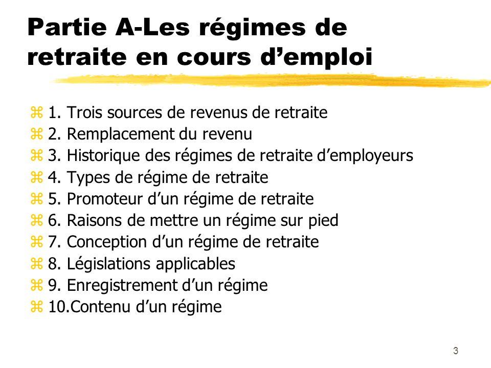 3 Partie A-Les régimes de retraite en cours d'emploi z1. Trois sources de revenus de retraite z2. Remplacement du revenu z3. Historique des régimes de