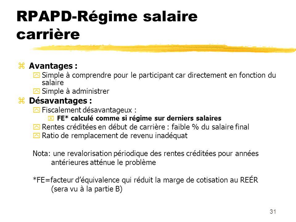 31 RPAPD-Régime salaire carrière zAvantages : ySimple à comprendre pour le participant car directement en fonction du salaire ySimple à administrer zD