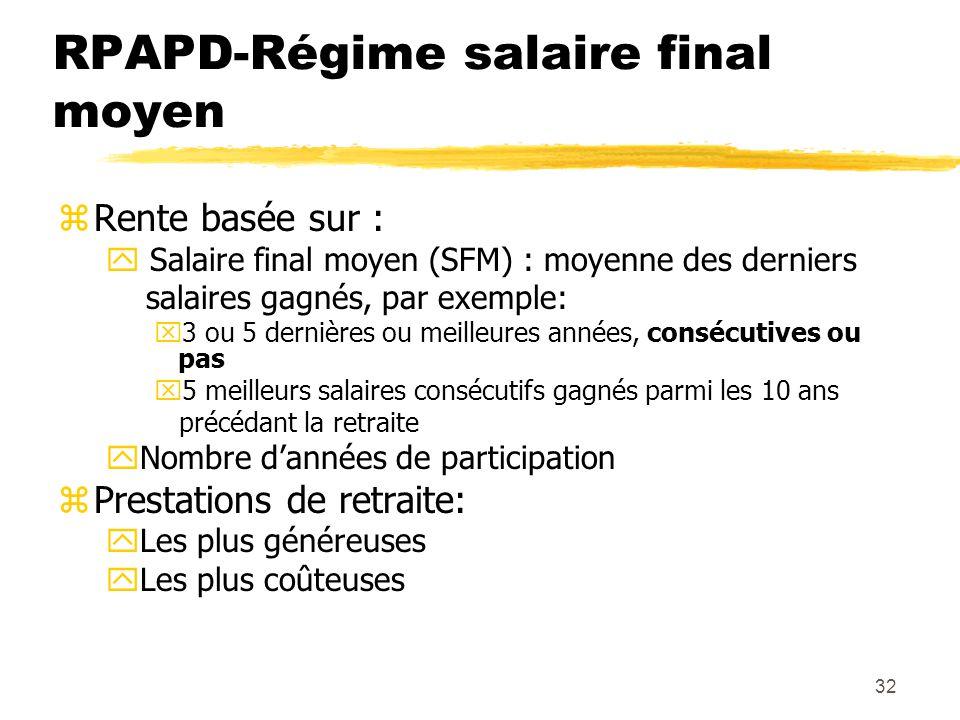 32 RPAPD-Régime salaire final moyen zRente basée sur : y Salaire final moyen (SFM) : moyenne des derniers salaires gagnés, par exemple: x3 ou 5 derniè