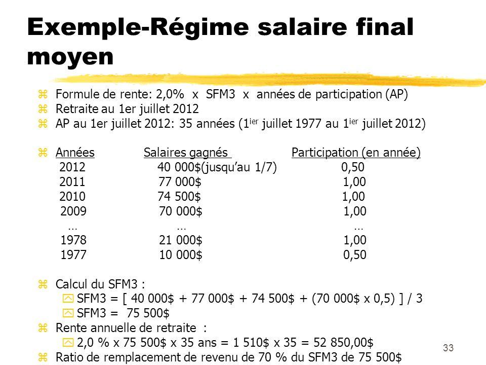 33 Exemple-Régime salaire final moyen zFormule de rente: 2,0% x SFM3 x années de participation (AP) zRetraite au 1er juillet 2012 zAP au 1er juillet 2