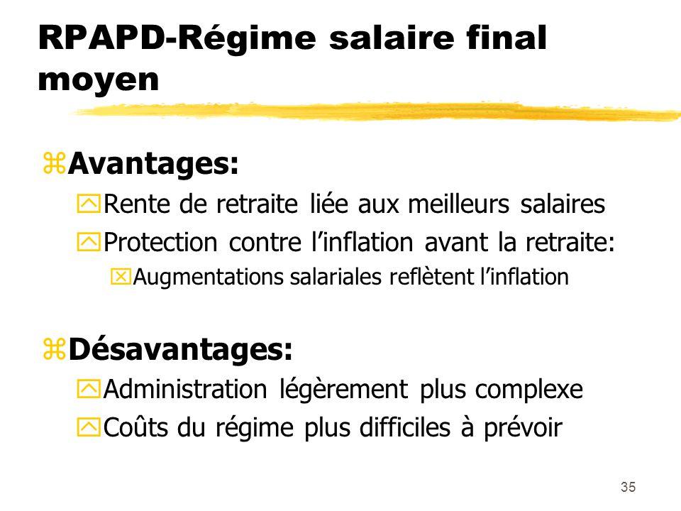 35 RPAPD-Régime salaire final moyen zAvantages: yRente de retraite liée aux meilleurs salaires yProtection contre l'inflation avant la retraite: xAugm