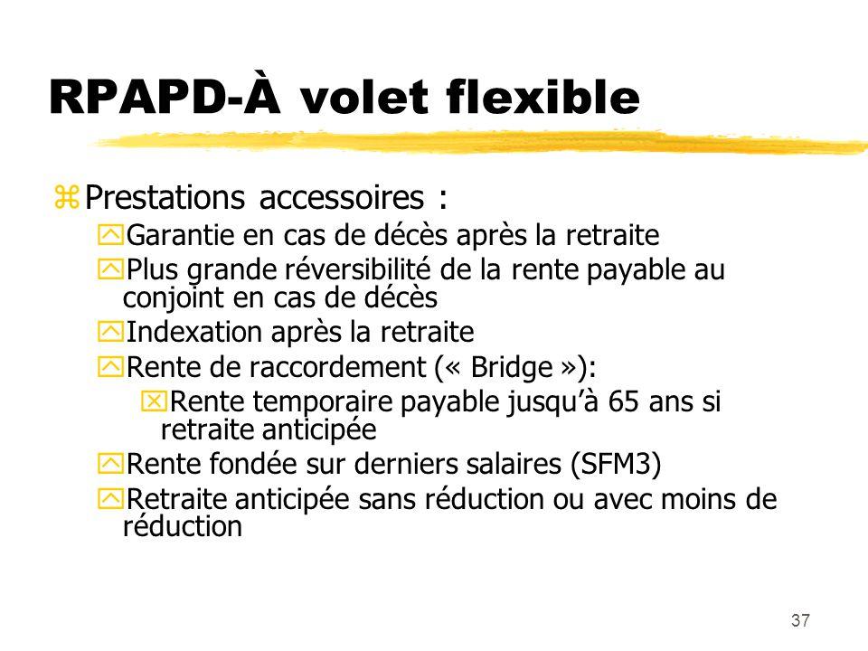 37 RPAPD-À volet flexible zPrestations accessoires : yGarantie en cas de décès après la retraite yPlus grande réversibilité de la rente payable au con