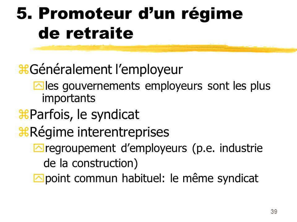39 5. Promoteur d'un régime de retraite zGénéralement l'employeur yles gouvernements employeurs sont les plus importants zParfois, le syndicat zRégime