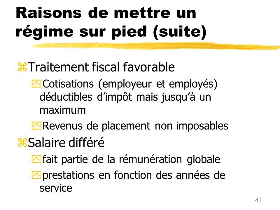 41 Raisons de mettre un régime sur pied (suite) zTraitement fiscal favorable yCotisations (employeur et employés) déductibles d'impôt mais jusqu'à un
