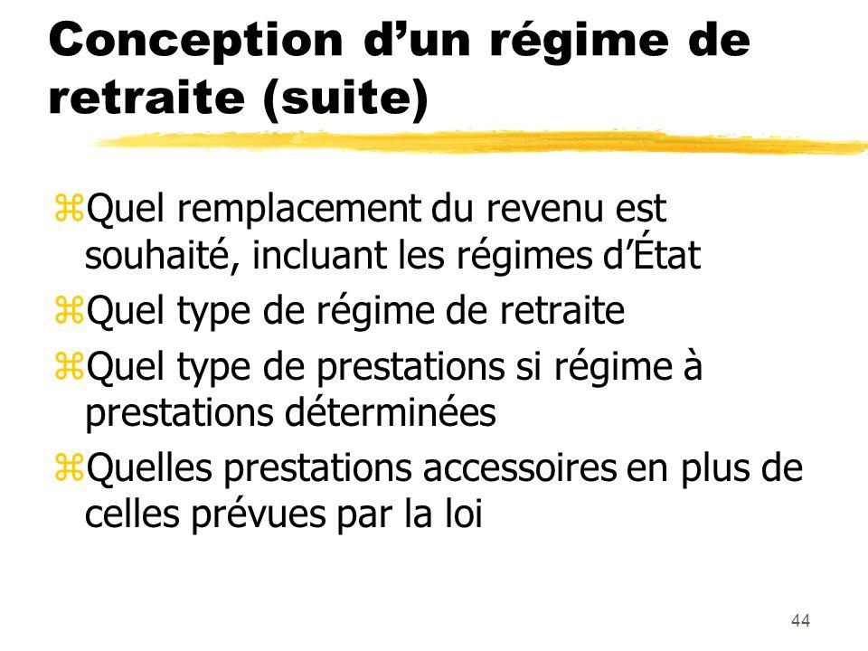 44 Conception d'un régime de retraite (suite) zQuel remplacement du revenu est souhaité, incluant les régimes d'État zQuel type de régime de retraite