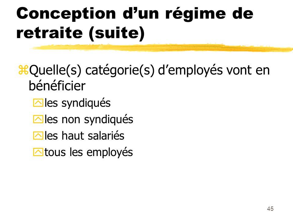 45 Conception d'un régime de retraite (suite) zQuelle(s) catégorie(s) d'employés vont en bénéficier yles syndiqués yles non syndiqués yles haut salari
