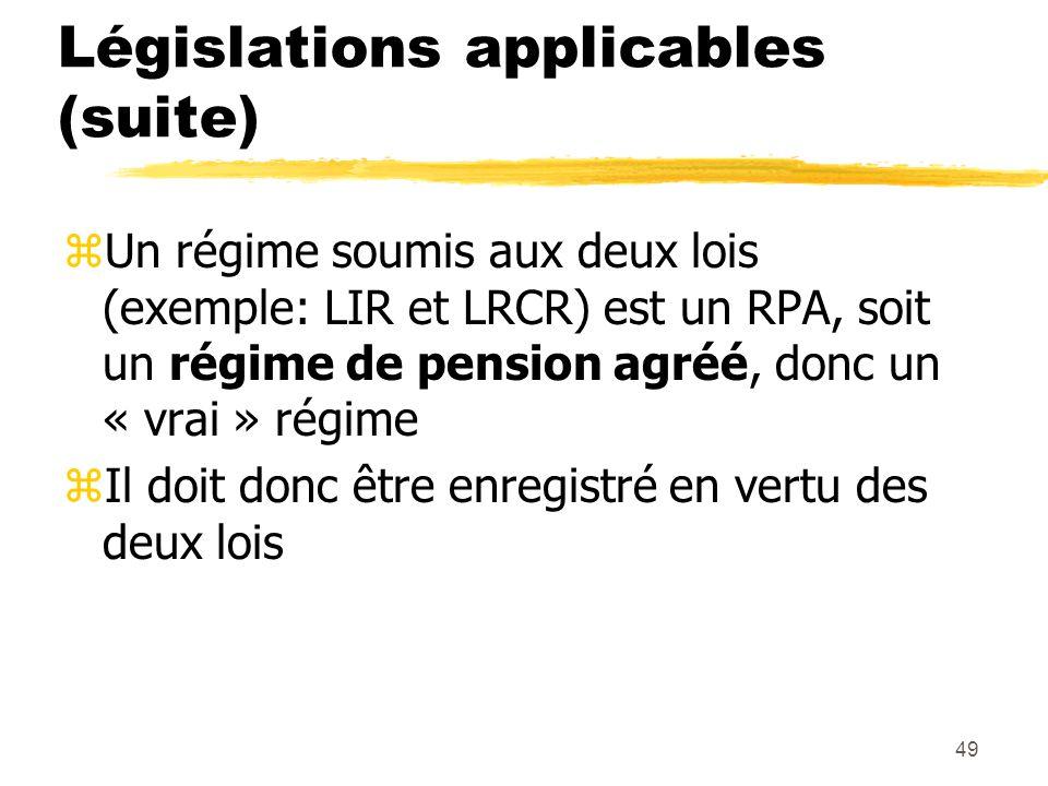 Législations applicables (suite) zUn régime soumis aux deux lois (exemple: LIR et LRCR) est un RPA, soit un régime de pension agréé, donc un « vrai »