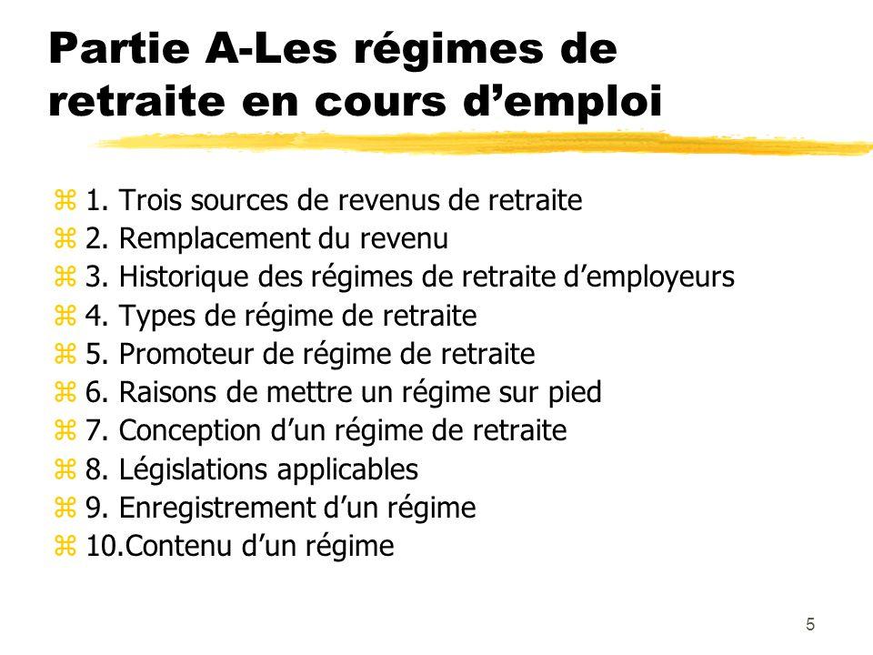 5 Partie A-Les régimes de retraite en cours d'emploi z1. Trois sources de revenus de retraite z2. Remplacement du revenu z3. Historique des régimes de