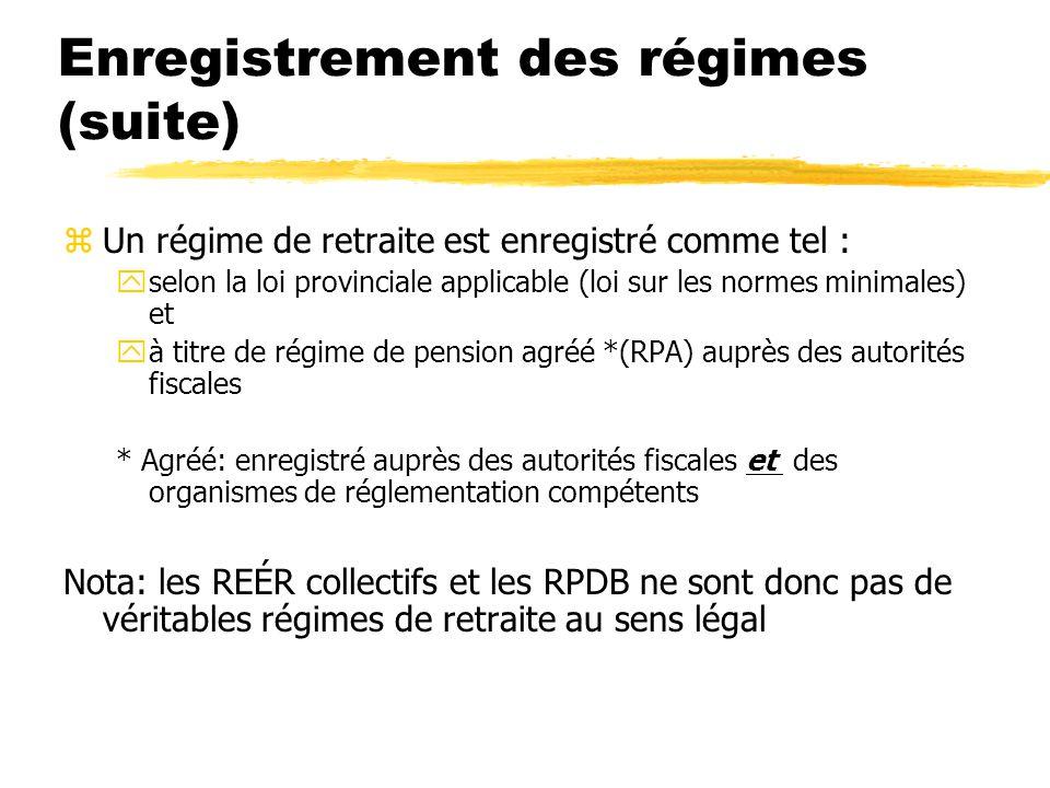 Enregistrement des régimes (suite) zUn régime de retraite est enregistré comme tel : yselon la loi provinciale applicable (loi sur les normes minimale
