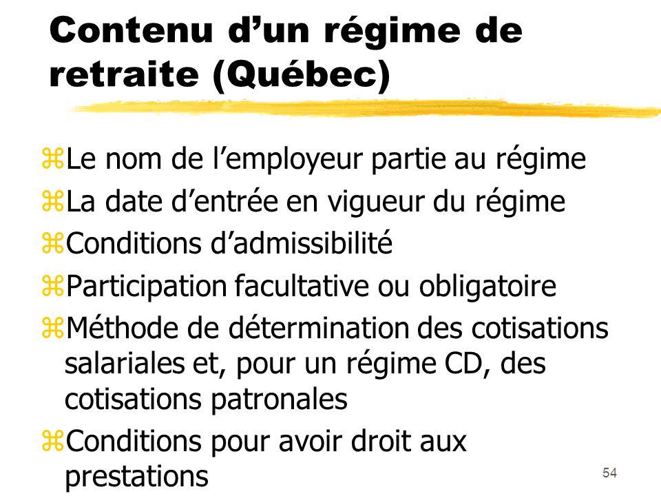 54 Contenu d'un régime de retraite (Québec) zLe nom de l'employeur partie au régime zLa date d'entrée en vigueur du régime zConditions d'admissibilité