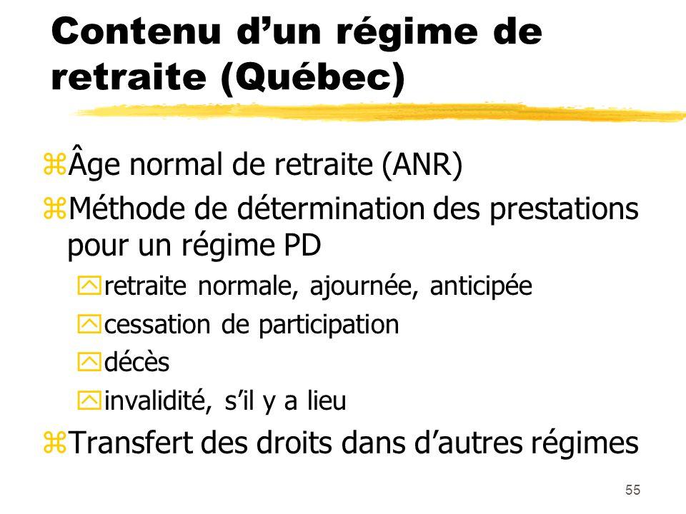 55 Contenu d'un régime de retraite (Québec) zÂge normal de retraite (ANR) zMéthode de détermination des prestations pour un régime PD yretraite normal