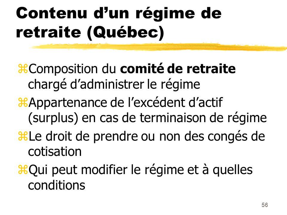 56 Contenu d'un régime de retraite (Québec) zComposition du comité de retraite chargé d'administrer le régime zAppartenance de l'excédent d'actif (sur