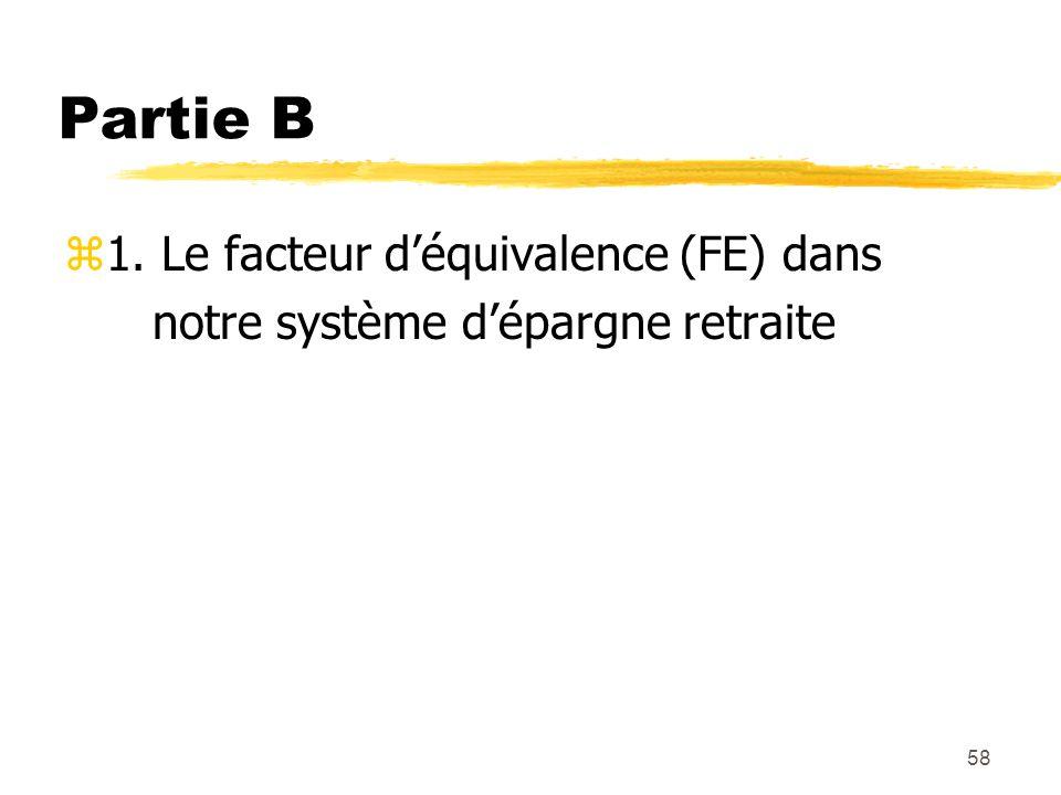 58 Partie B z1. Le facteur d'équivalence (FE) dans notre système d'épargne retraite
