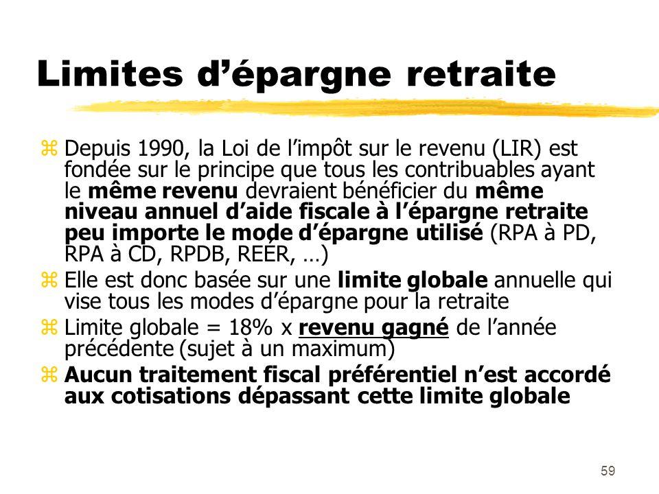 59 Limites d'épargne retraite zDepuis 1990, la Loi de l'impôt sur le revenu (LIR) est fondée sur le principe que tous les contribuables ayant le même