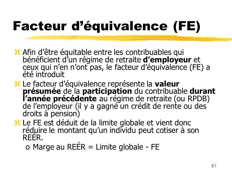 61 Facteur d'équivalence (FE) zAfin d'être équitable entre les contribuables qui bénéficient d'un régime de retraite d'employeur et ceux qui n'en n'on