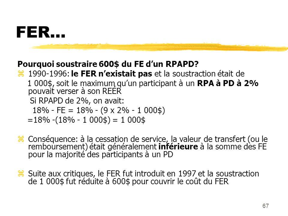 67 FER… Pourquoi soustraire 600$ du FE d'un RPAPD? z1990-1996: le FER n'existait pas et la soustraction était de 1 000$, soit le maximum qu'un partici