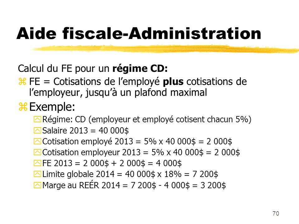 70 Aide fiscale-Administration Calcul du FE pour un régime CD: zFE = Cotisations de l'employé plus cotisations de l'employeur, jusqu'à un plafond maxi