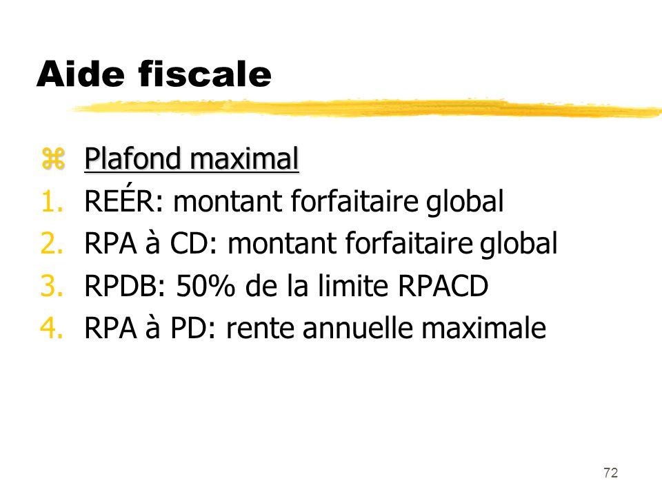 72 Aide fiscale zPlafond maximal 1.REÉR: montant forfaitaire global 2.RPA à CD: montant forfaitaire global 3.RPDB: 50% de la limite RPACD 4.RPA à PD: