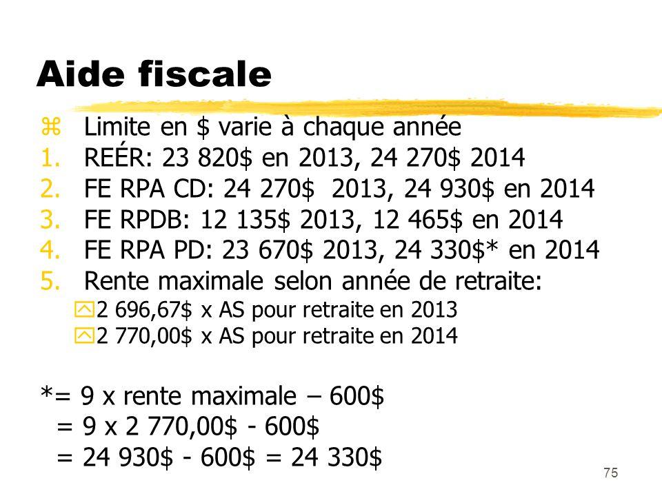 75 Aide fiscale zLimite en $ varie à chaque année 1.REÉR: 23 820$ en 2013, 24 270$ 2014 2.FE RPA CD: 24 270$ 2013, 24 930$ en 2014 3.FE RPDB: 12 135$