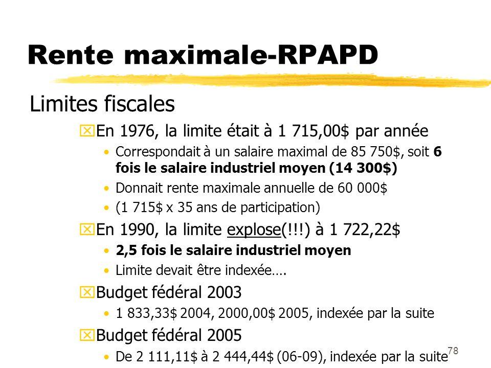 78 Rente maximale-RPAPD Limites fiscales xEn 1976, la limite était à 1 715,00$ par année Correspondait à un salaire maximal de 85 750$, soit 6 fois le