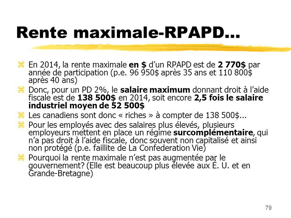 79 Rente maximale-RPAPD… zEn 2014, la rente maximale en $ d'un RPAPD est de 2 770$ par année de participation (p.e. 96 950$ après 35 ans et 110 800$ a