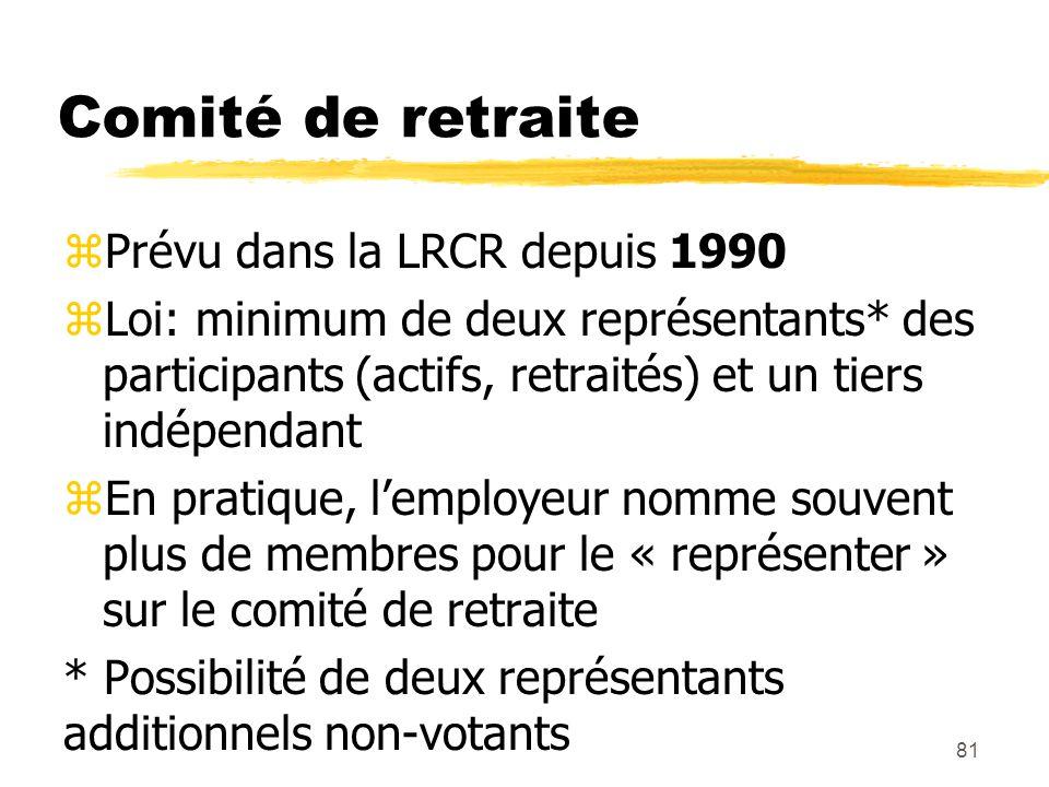 81 Comité de retraite zPrévu dans la LRCR depuis 1990 zLoi: minimum de deux représentants* des participants (actifs, retraités) et un tiers indépendan