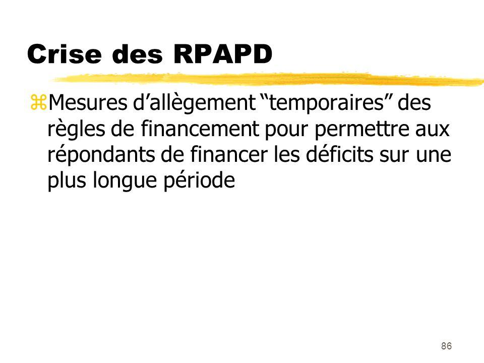 """86 Crise des RPAPD zMesures d'allègement """"temporaires"""" des règles de financement pour permettre aux répondants de financer les déficits sur une plus l"""