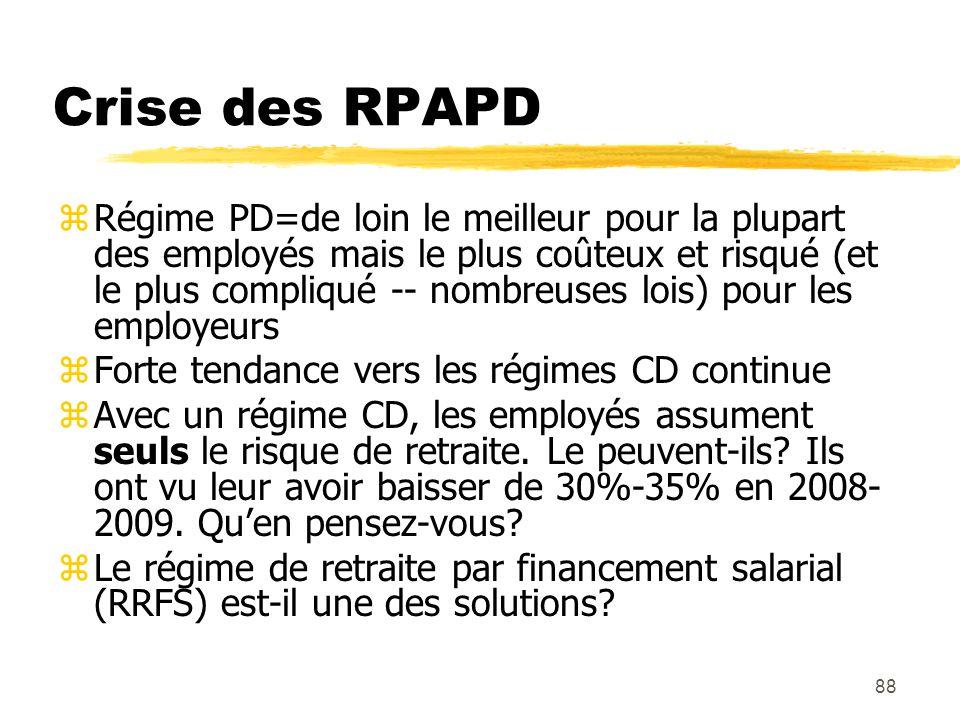 88 Crise des RPAPD zRégime PD=de loin le meilleur pour la plupart des employés mais le plus coûteux et risqué (et le plus compliqué -- nombreuses lois