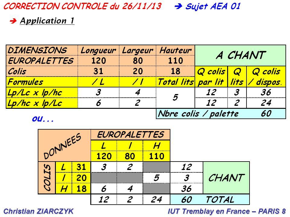 Christian ZIARCZYK IUT Tremblay en France – PARIS 8  Sujet AEA 01CORRECTION CONTROLE du 26/11/13 ou...