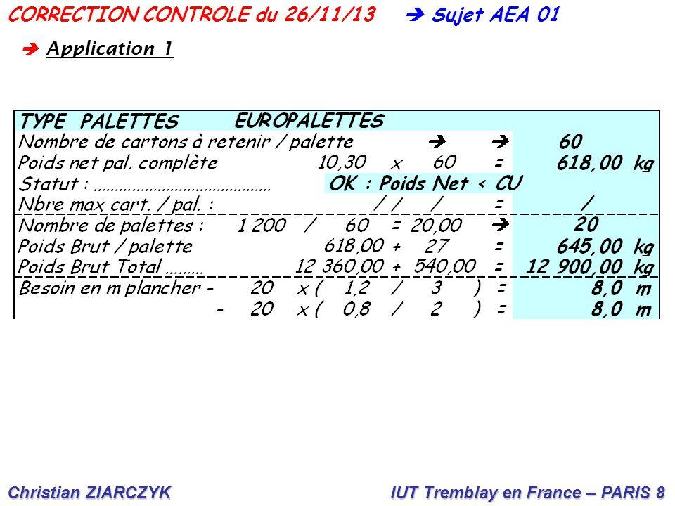 Christian ZIARCZYK IUT Tremblay en France – PARIS 8  Sujet AEA 01CORRECTION CONTROLE du 26/11/13  A pplication 1