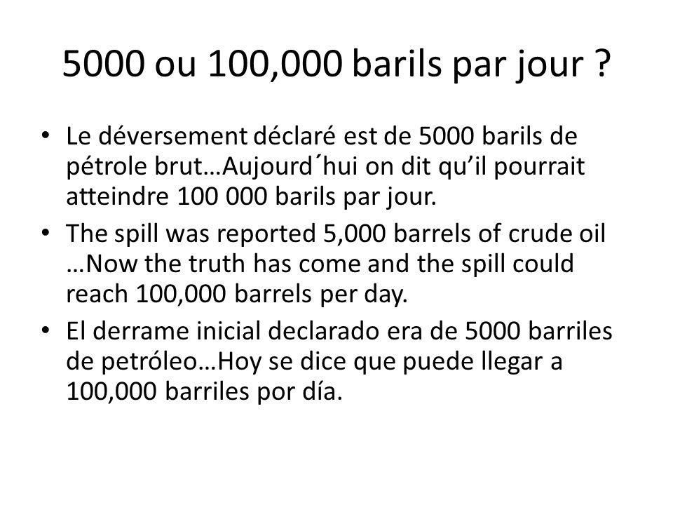 5000 ou 100,000 barils par jour ? Le déversement déclaré est de 5000 barils de pétrole brut…Aujourd´hui on dit qu'il pourrait atteindre 100 000 barils