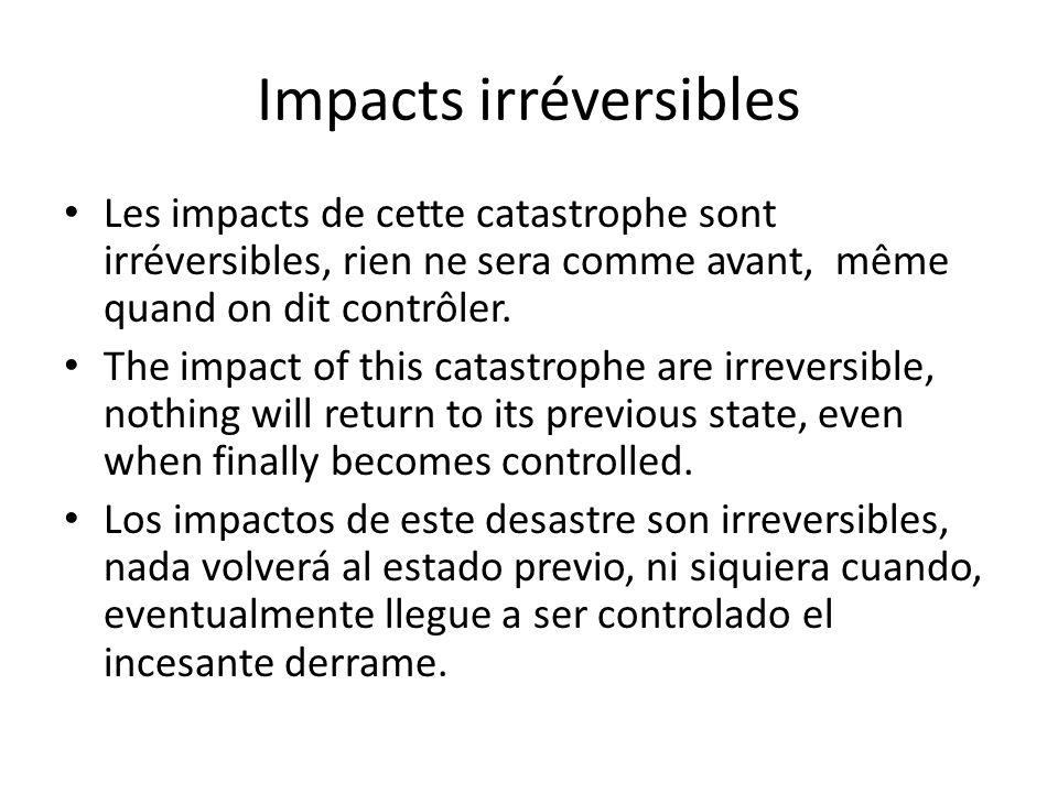 Impacts irréversibles Les impacts de cette catastrophe sont irréversibles, rien ne sera comme avant, même quand on dit contrôler. The impact of this c