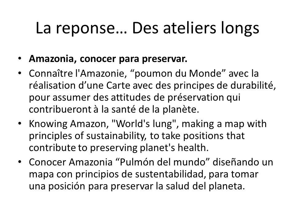 """La reponse… Des ateliers longs Amazonia, conocer para preservar. Connaître l'Amazonie, """"poumon du Monde"""" avec la réalisation d'une Carte avec des prin"""