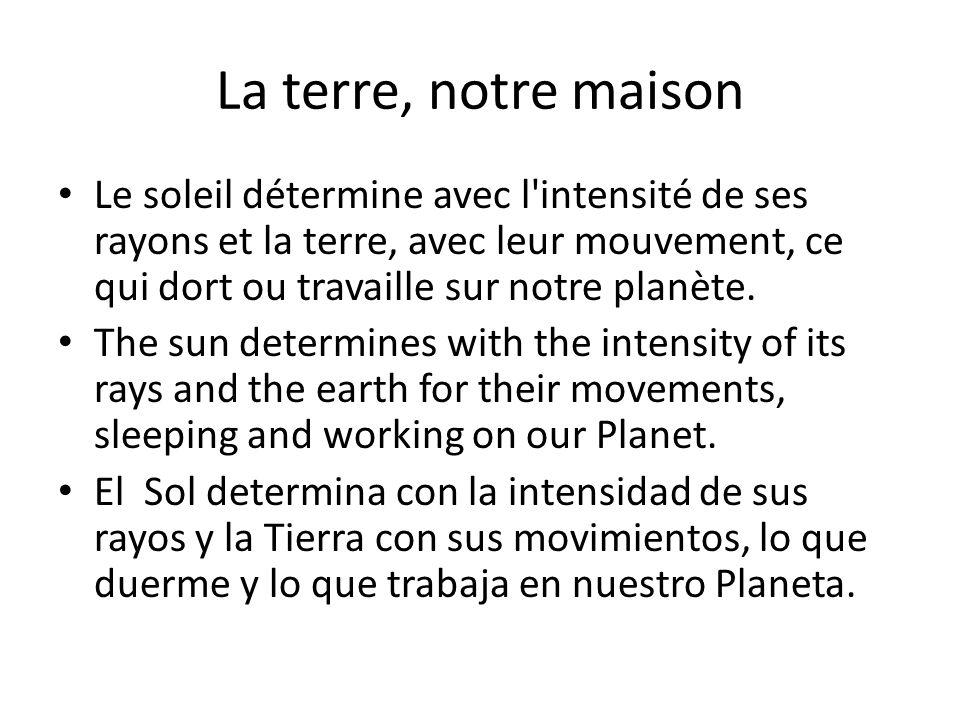 La terre, notre maison Le soleil détermine avec l'intensité de ses rayons et la terre, avec leur mouvement, ce qui dort ou travaille sur notre planète