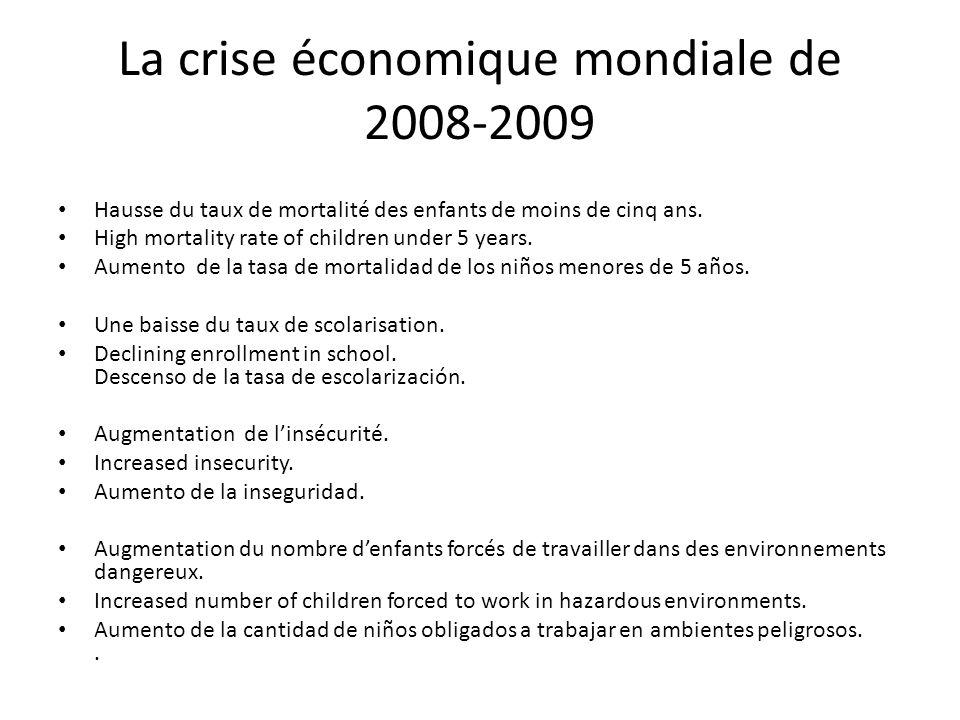 La crise économique mondiale de 2008-2009 Hausse du taux de mortalité des enfants de moins de cinq ans.