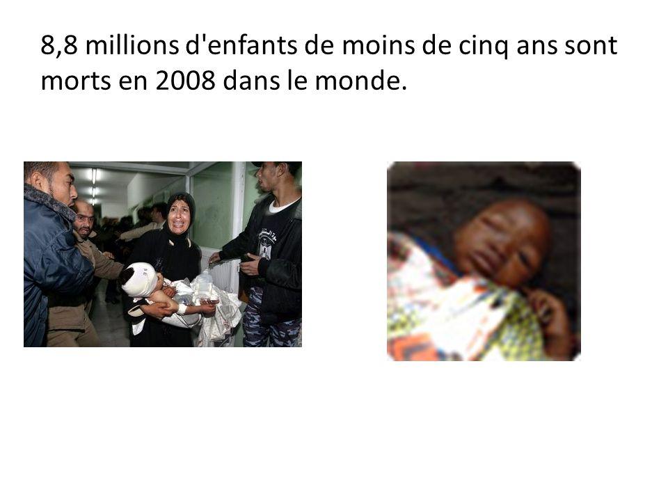 8,8 millions d enfants de moins de cinq ans sont morts en 2008 dans le monde.