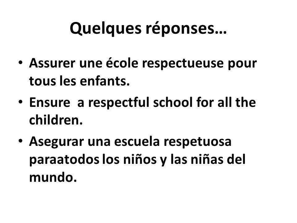 Quelques réponses… Assurer une école respectueuse pour tous les enfants. Ensure a respectful school for all the children. Asegurar una escuela respetu