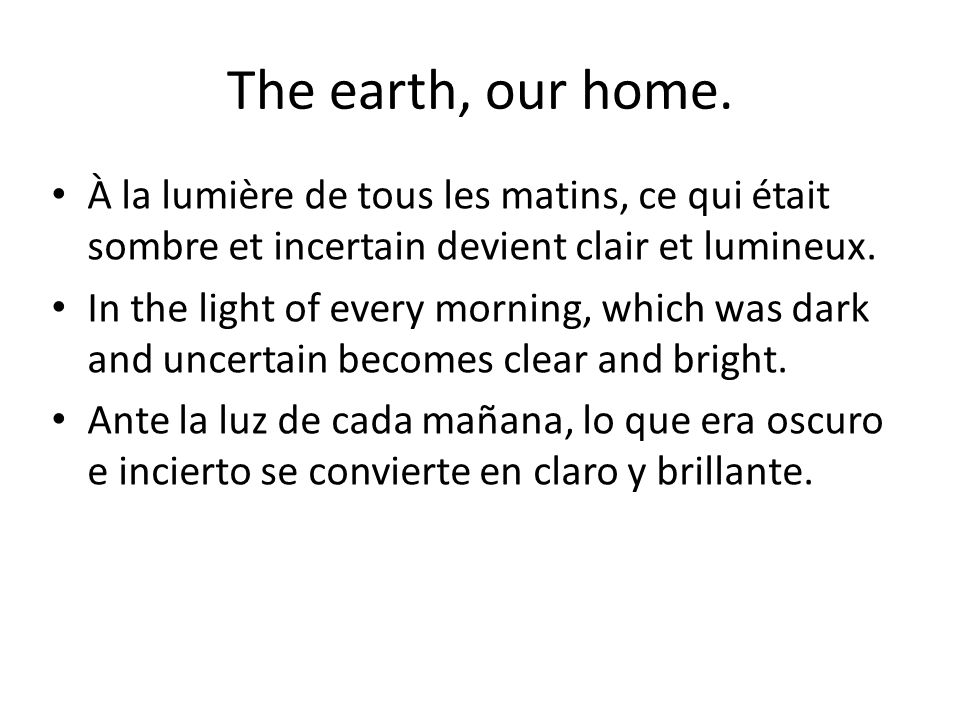 The earth, our home.