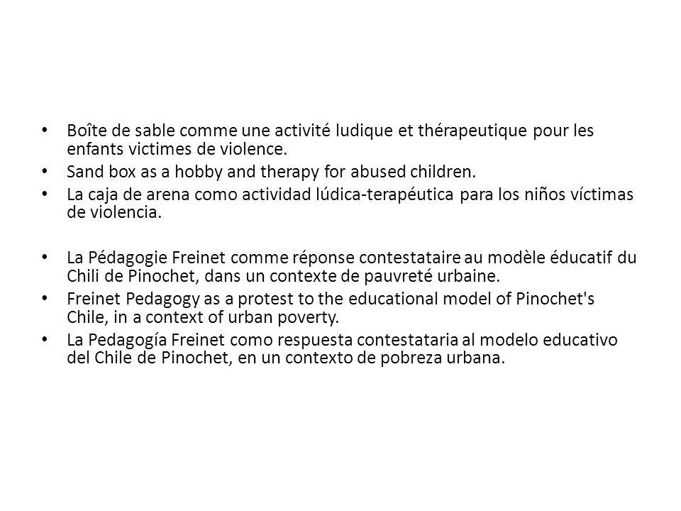 Boîte de sable comme une activité ludique et thérapeutique pour les enfants victimes de violence.