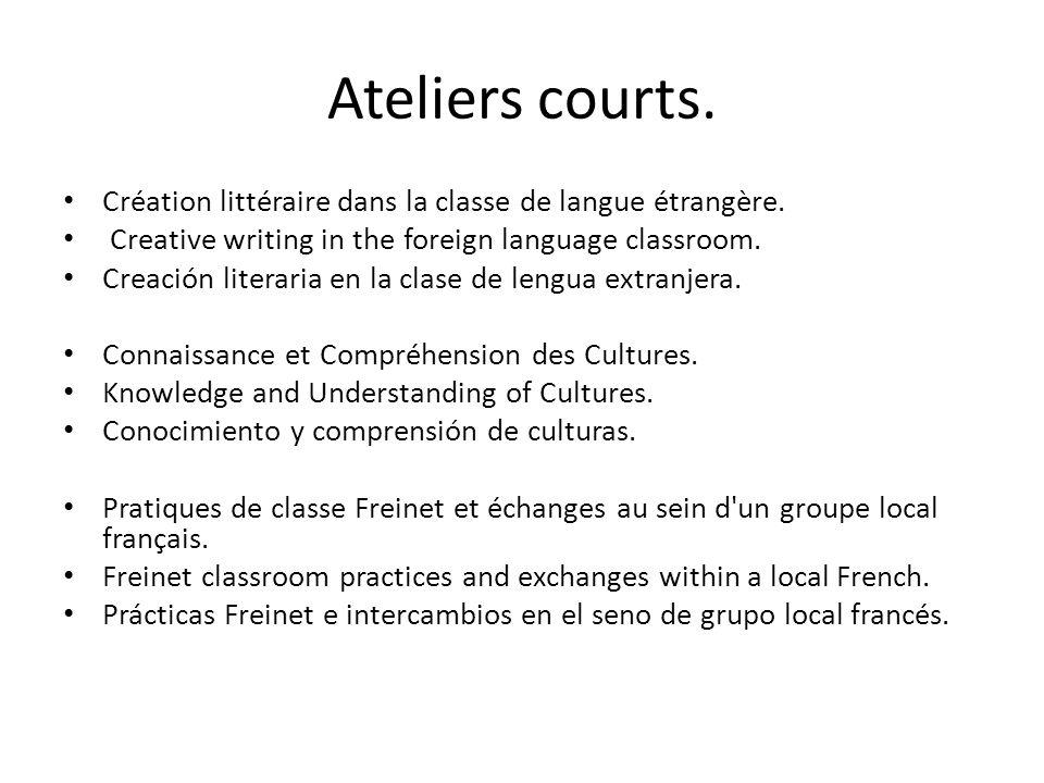 Ateliers courts. Création littéraire dans la classe de langue étrangère.