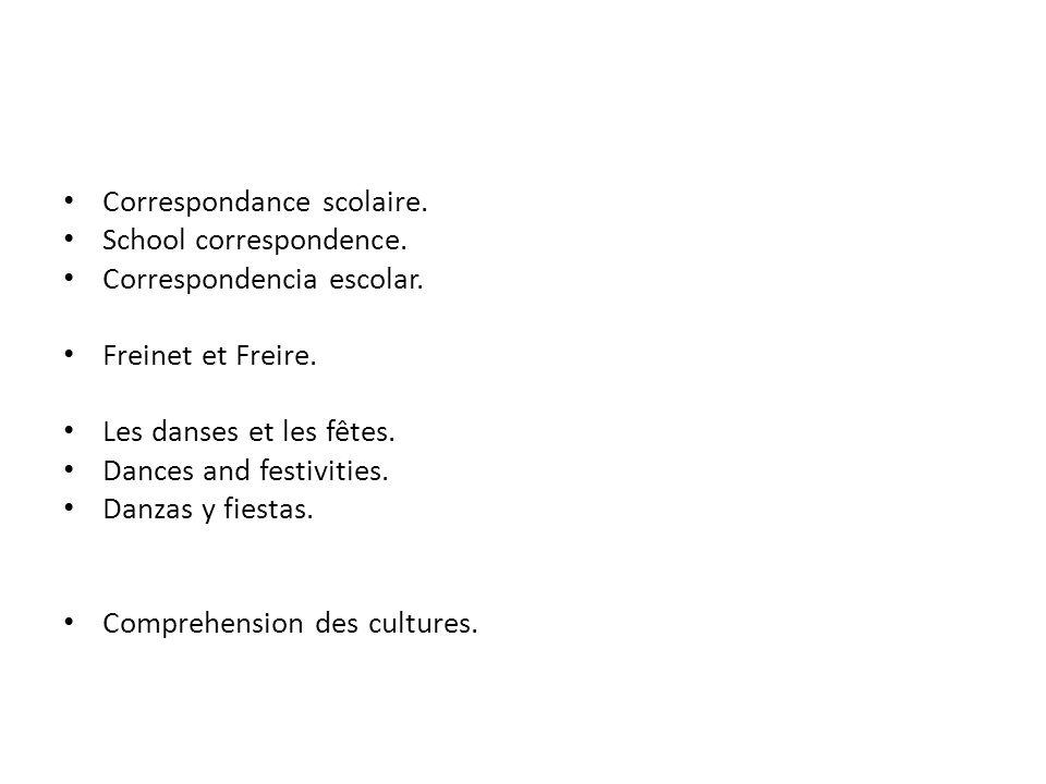 Correspondance scolaire. School correspondence. Correspondencia escolar.