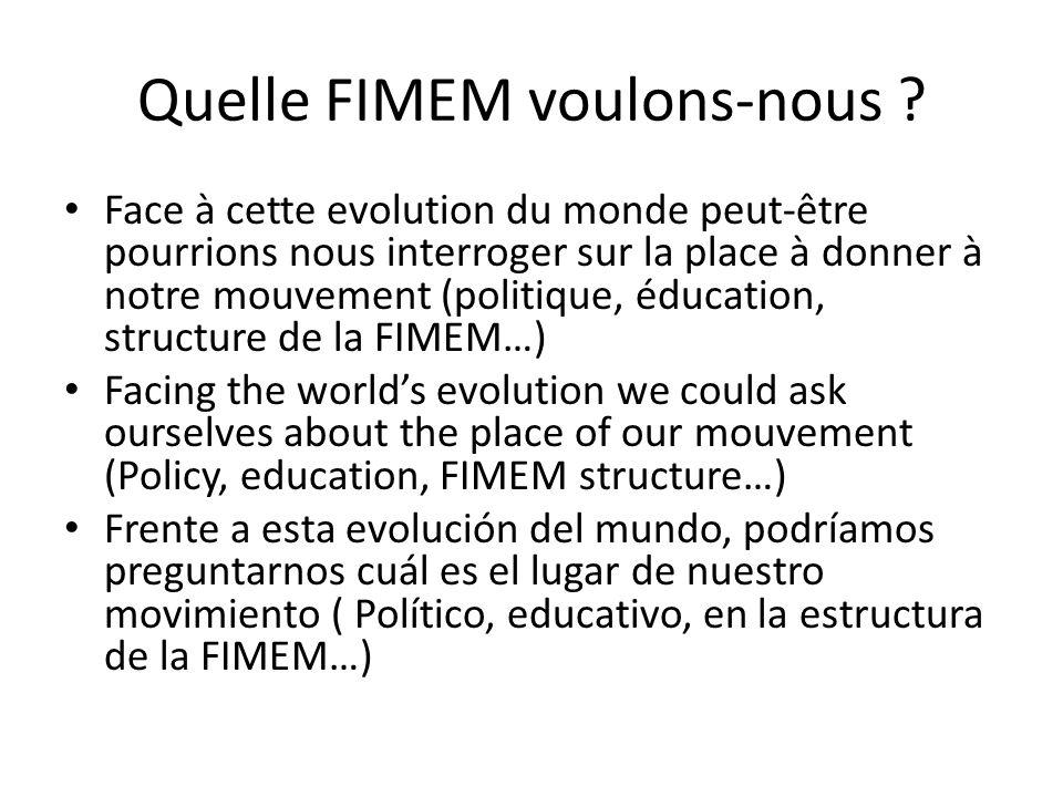 Quelle FIMEM voulons-nous ? Face à cette evolution du monde peut-être pourrions nous interroger sur la place à donner à notre mouvement (politique, éd